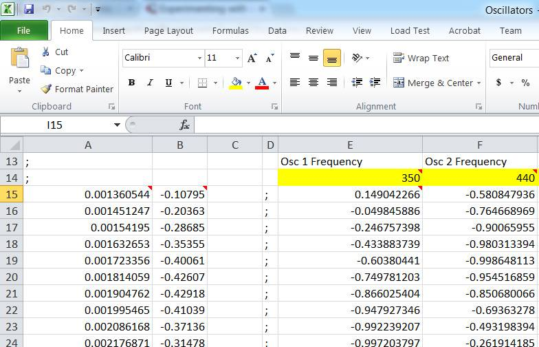 Digital signal processing in a spreadsheet: an experimental toy